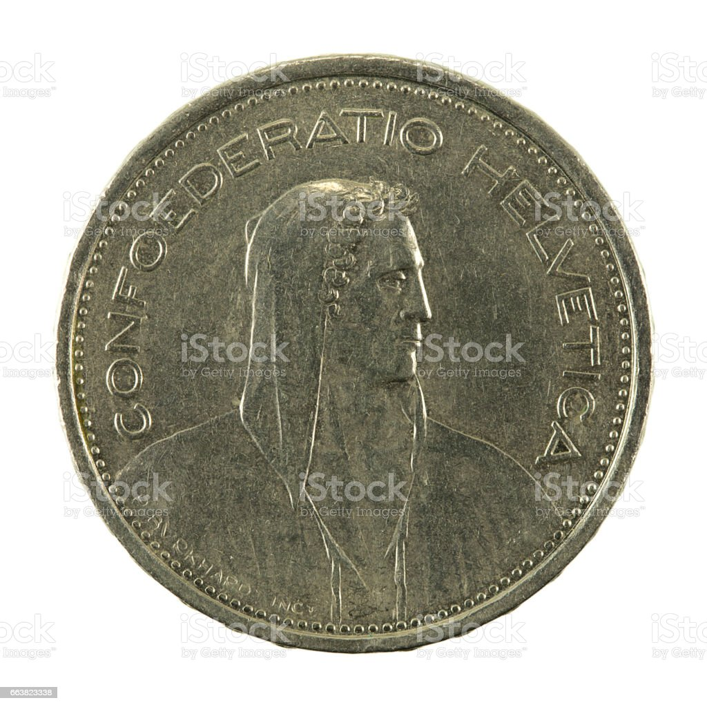5 swiss franc coin (1968) reverse isolated on white background stock photo
