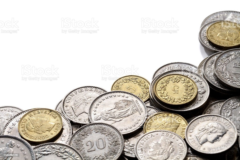 Swiss Franc Coins with Copy Space royalty-free stock photo