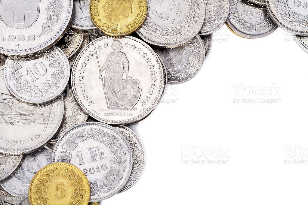 Swiss Franc Coins with White Copy Space stock photo