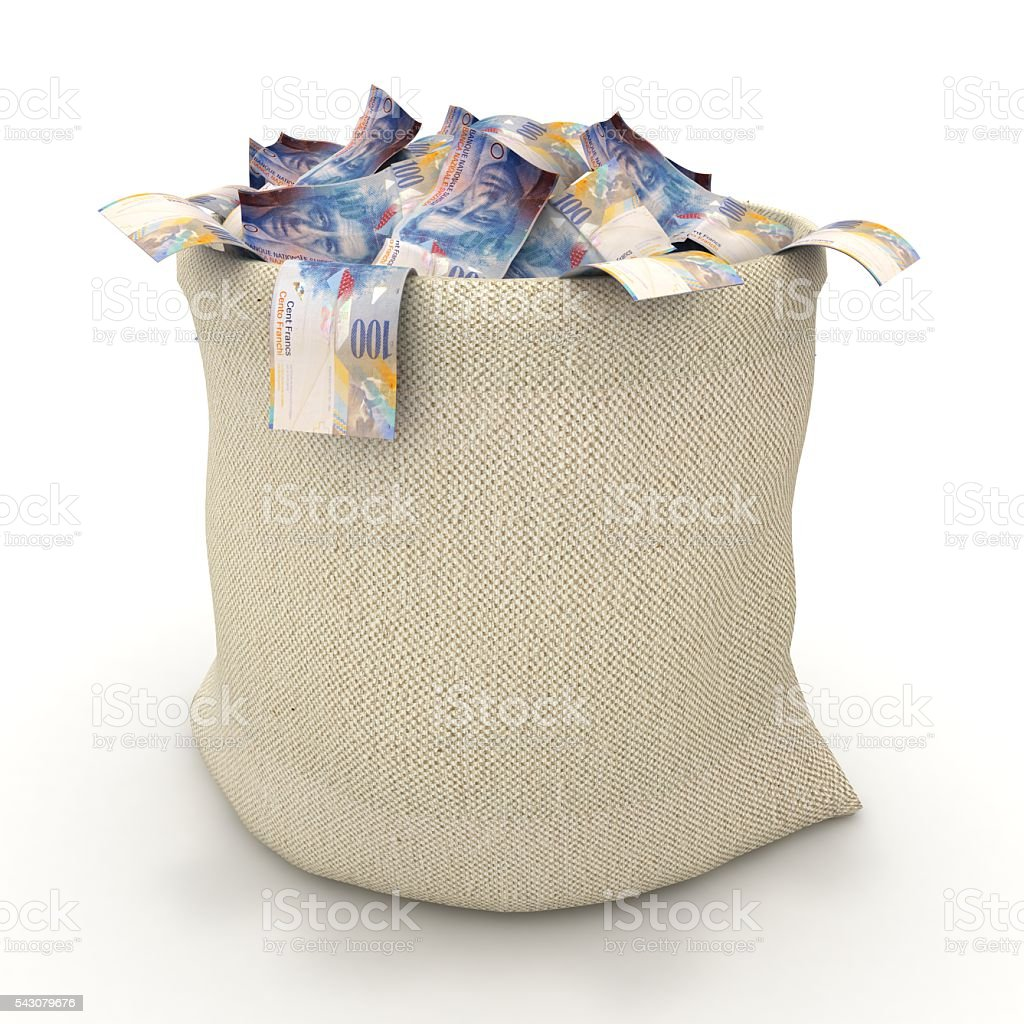 Swiss franc money bag concept stock photo