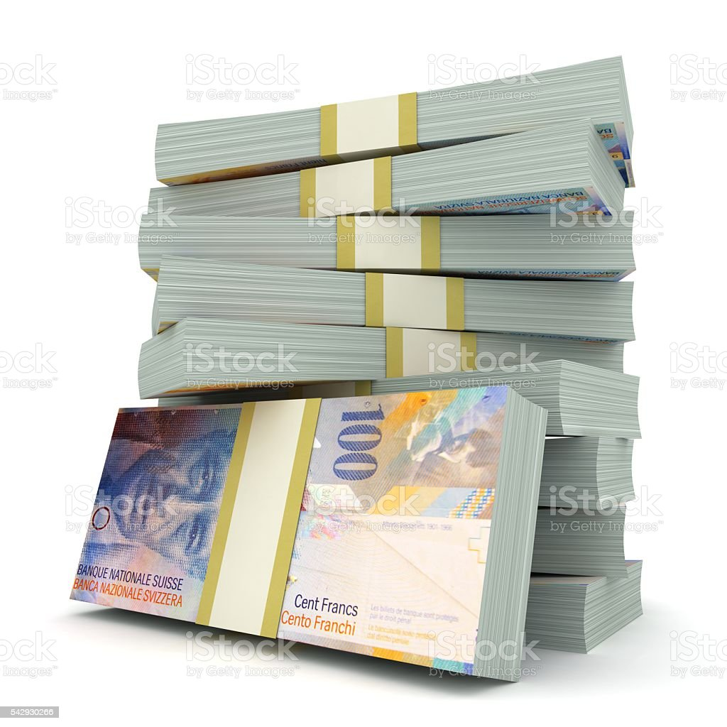 Swiss franc money concept stock photo