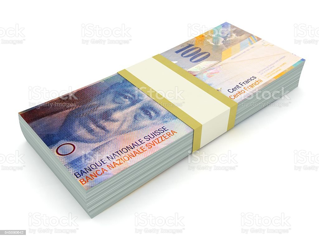 Swiss franc money concept stock photo