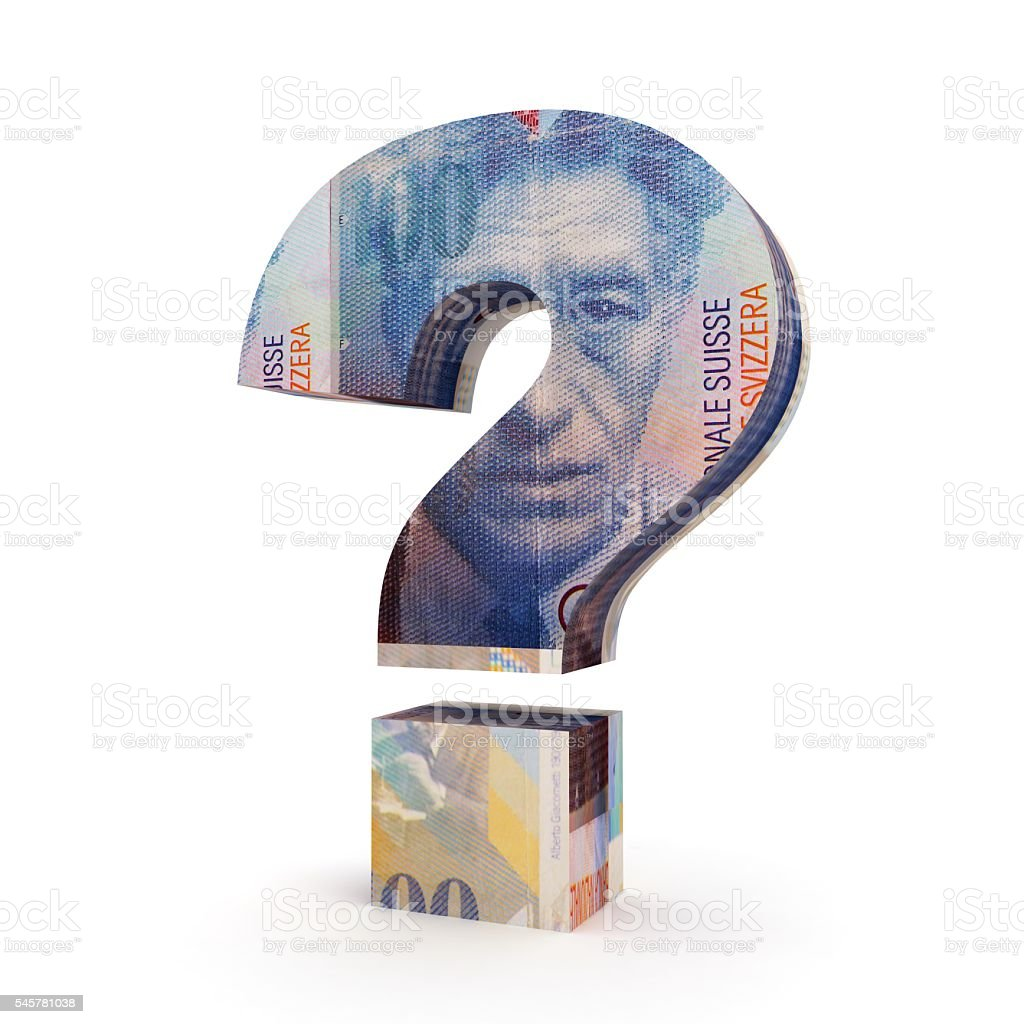 Swiss franc money question concept stock photo