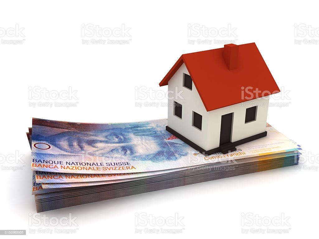 Swiss franc real estate money house mortgage concept stock photo