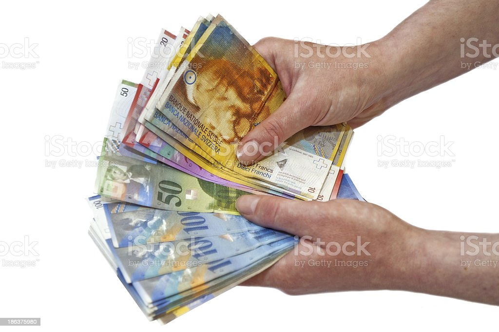 Swiss francs banknotes stock photo