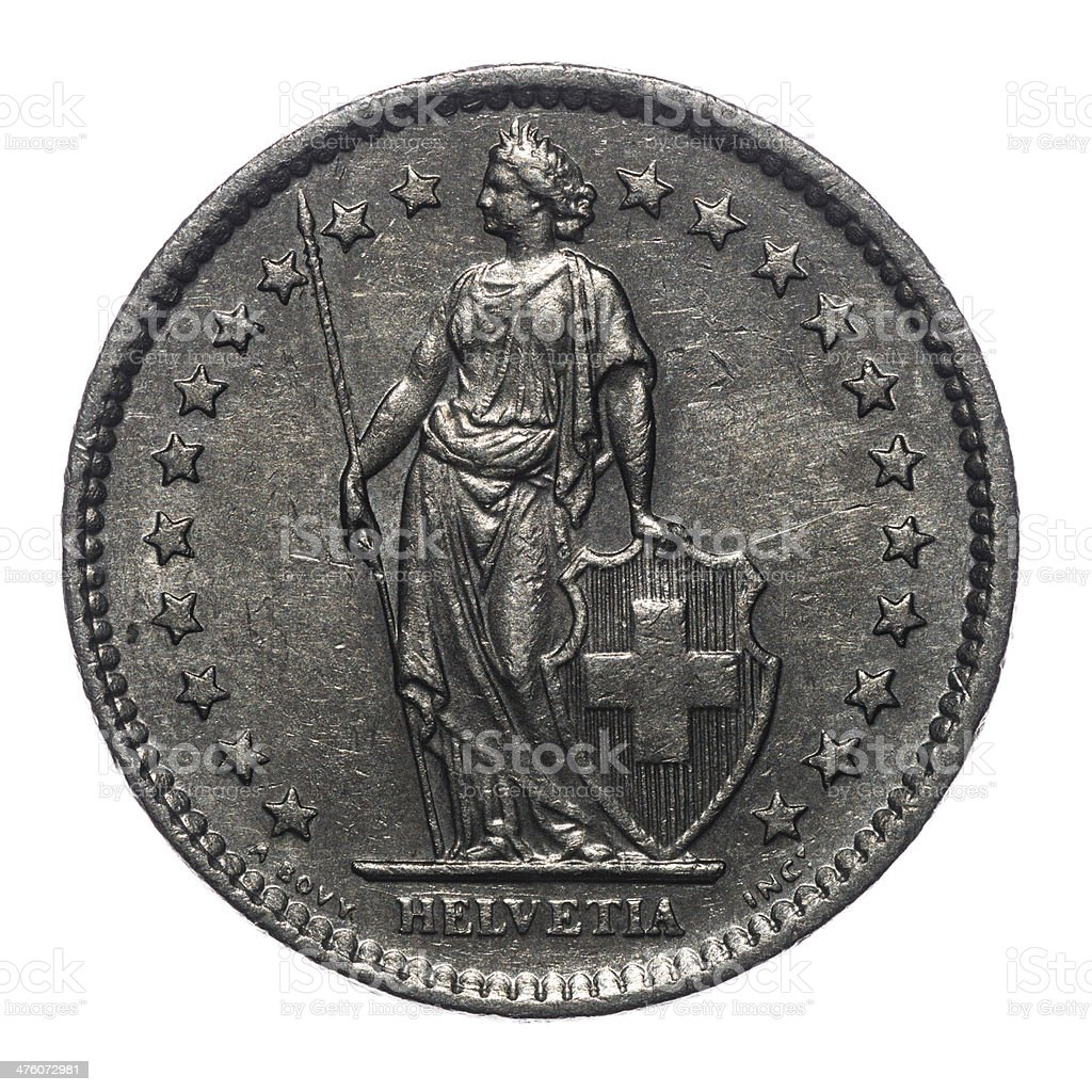 2 Swiss Francs coin isolated on white (1981) royalty-free stock photo