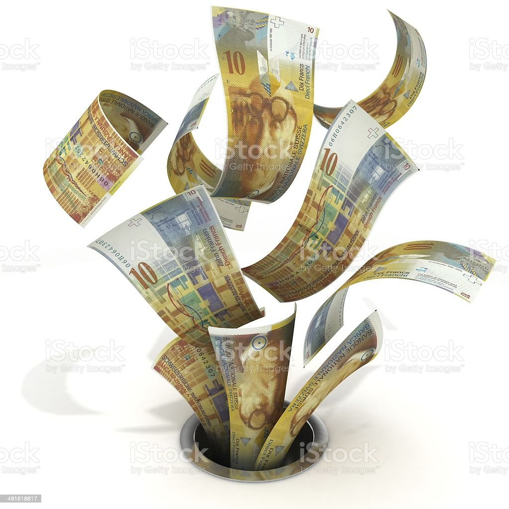 Swiss Francs Down the Drain royalty-free stock photo