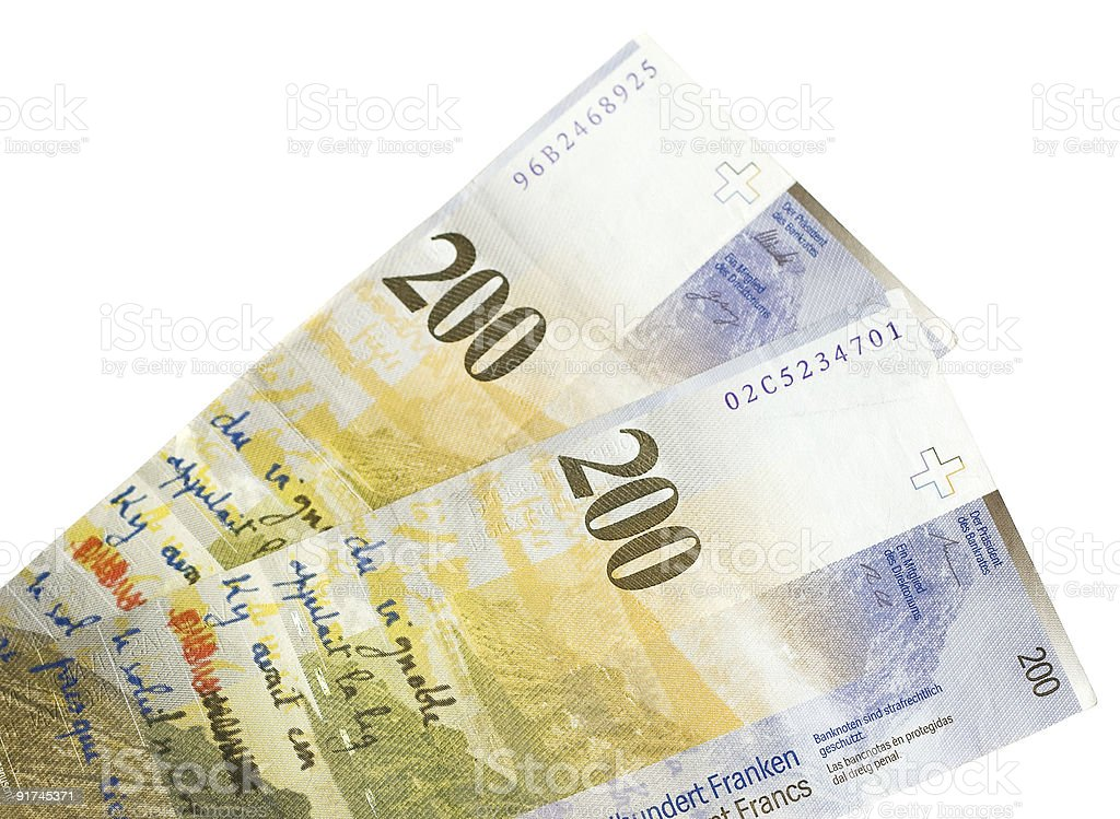 Swiss francs isolated on white royalty-free stock photo