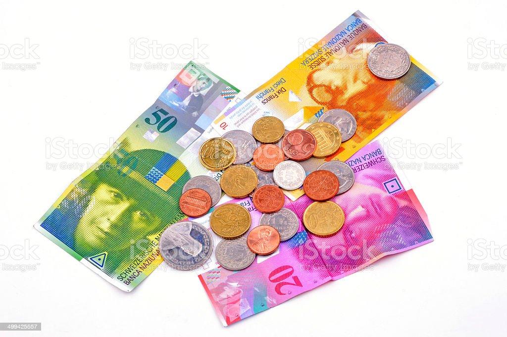 swiss francs on white background stock photo