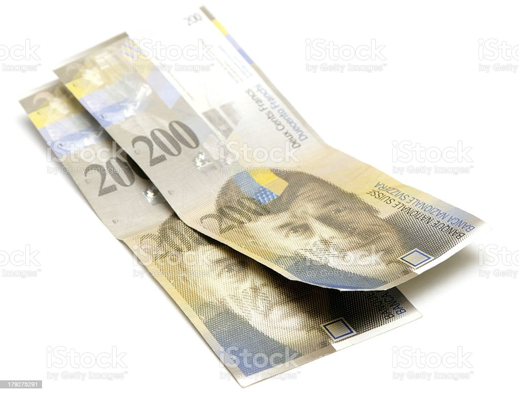 Swiss francs on white royalty-free stock photo