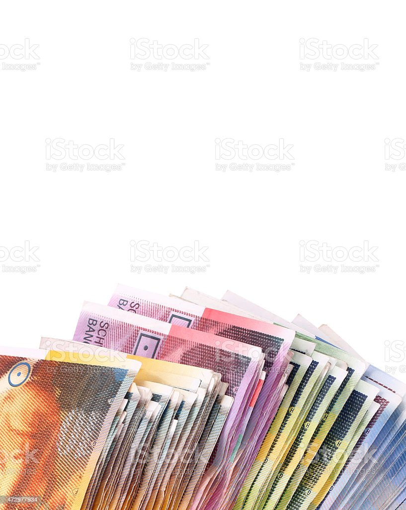 Swiss francs paper banknotes stock photo