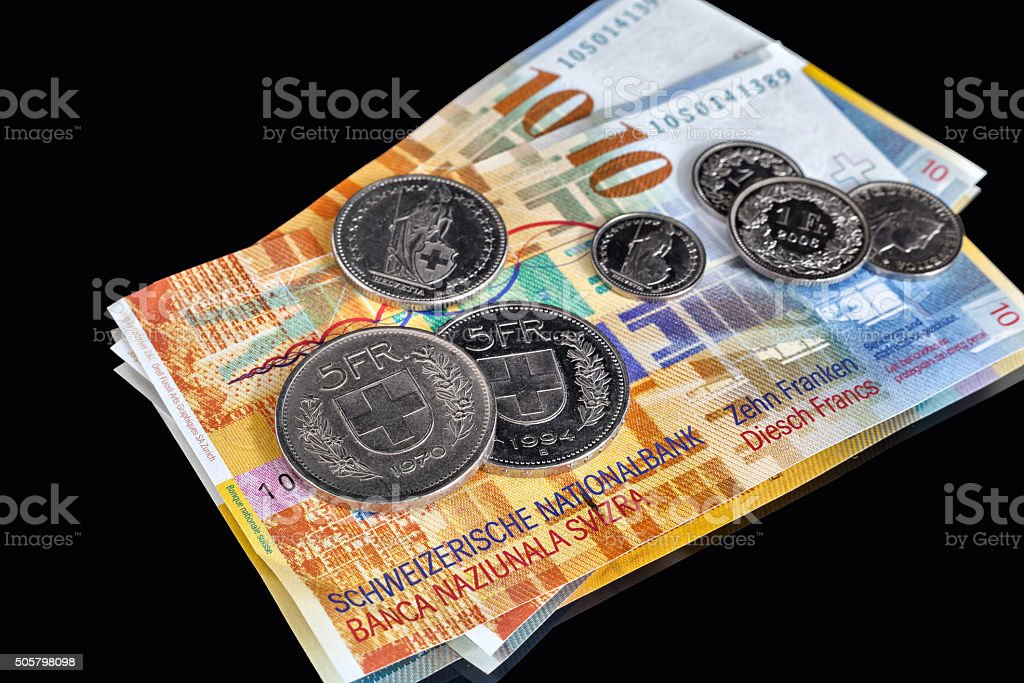 Swiss Franks - a few banknotes and coins stock photo