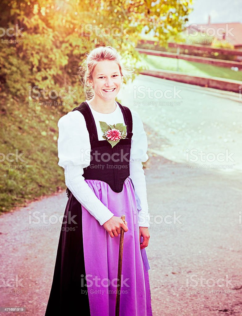 Swiss girl Autumn portrait stock photo