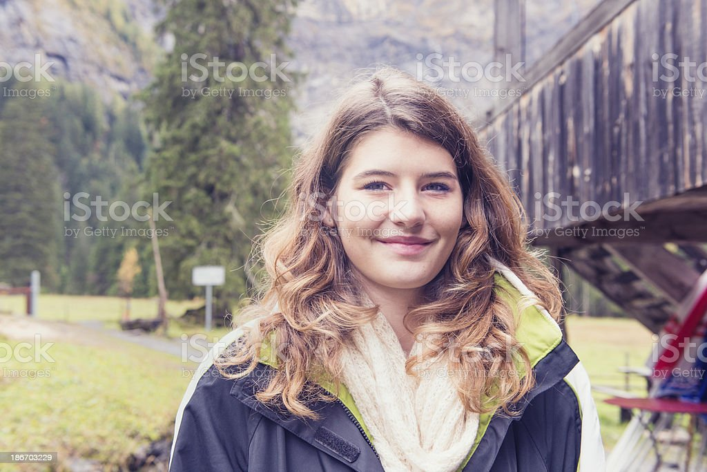 Swiss Girl in the Alps royalty-free stock photo