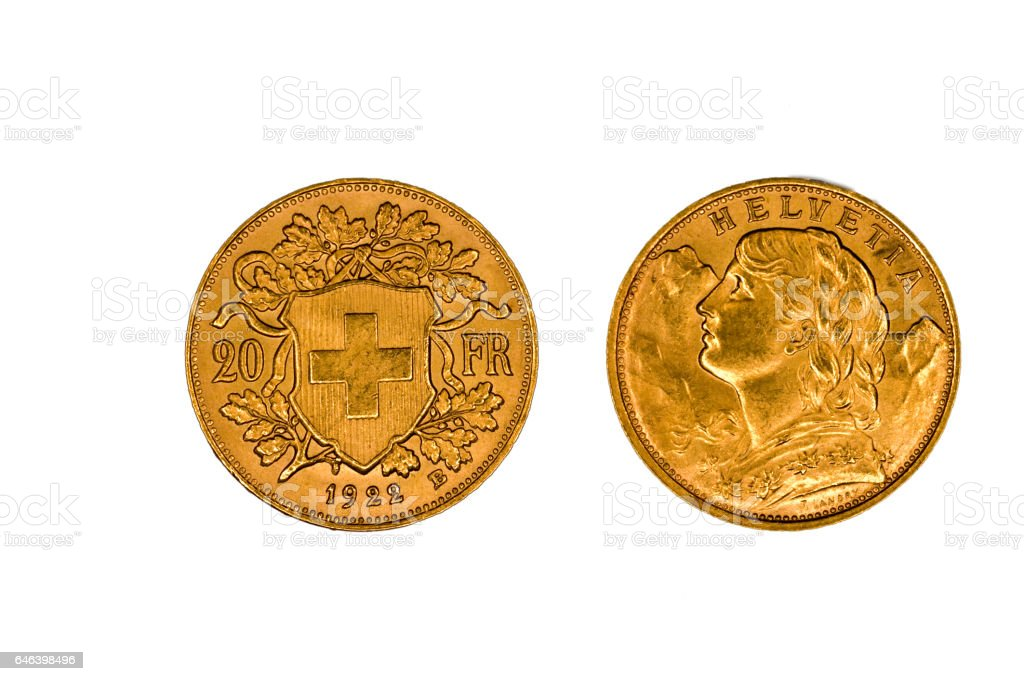 Swiss gold coin stock photo