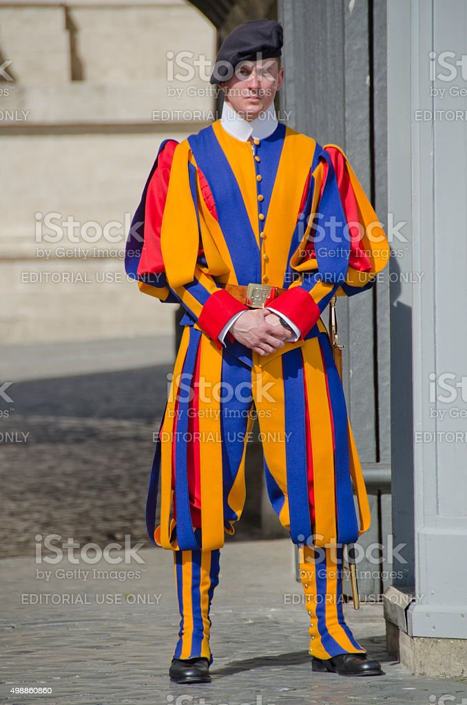 Swiss Guard at Vatican City stock photo