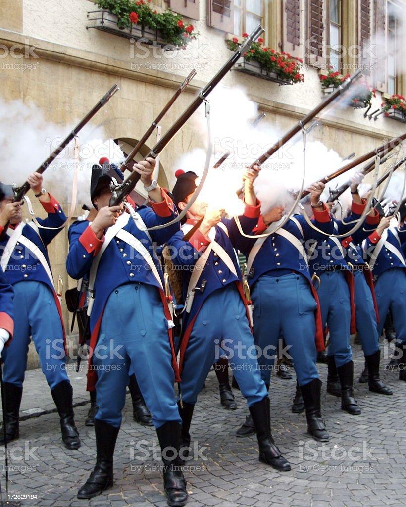 Swiss Guard Firing Gun Salute royalty-free stock photo