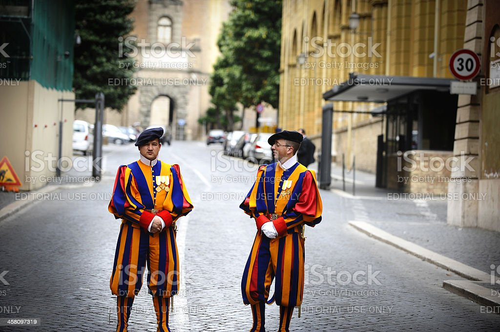 Swiss Guard in Vatican City, Rome - Italy stock photo
