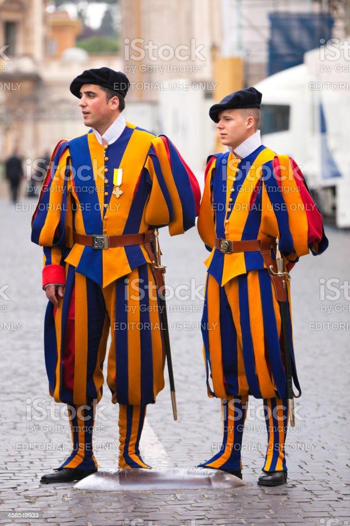 Swiss Guard on dutty during beatification of Jean Paul II stock photo