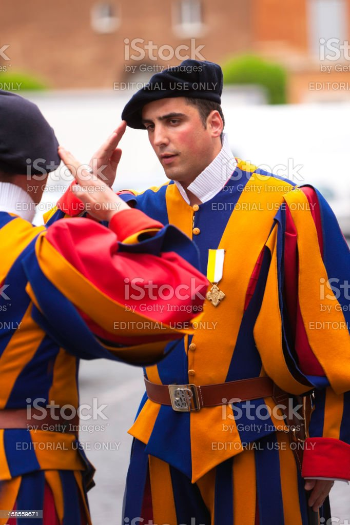 Swiss guards on dutty during beatification of Jean Paul II stock photo