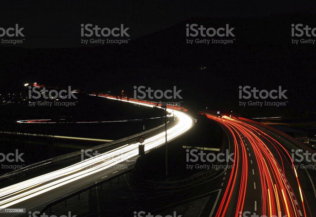 Swiss Highway at night royalty-free stock photo