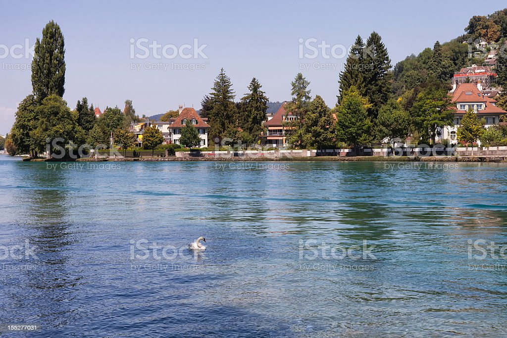 Swiss Houses along the banks of Aare River royalty-free stock photo