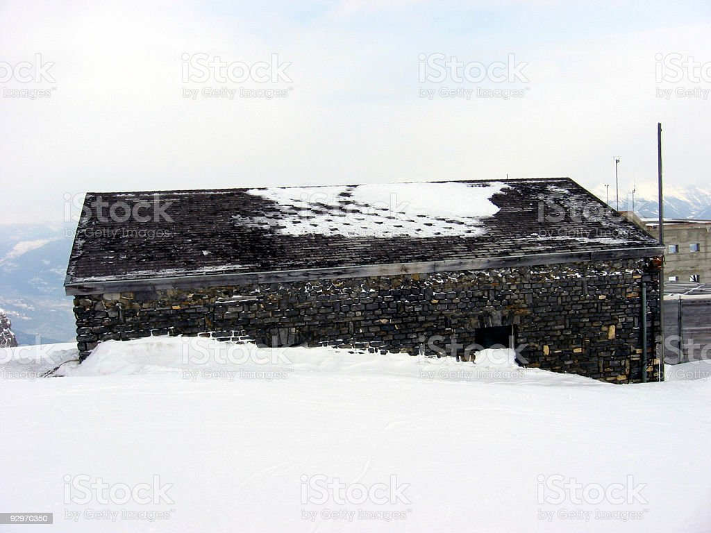 Swiss Hut Buried in Snow royalty-free stock photo