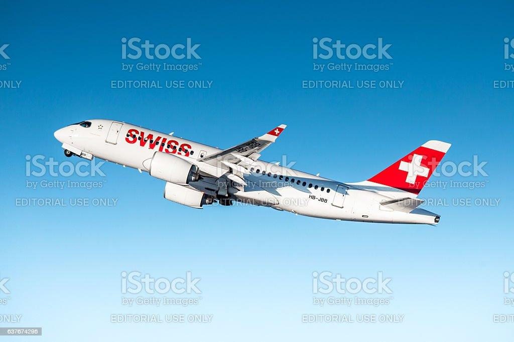 Swiss International Air Lines Bombardier CSeries CS100 stock photo