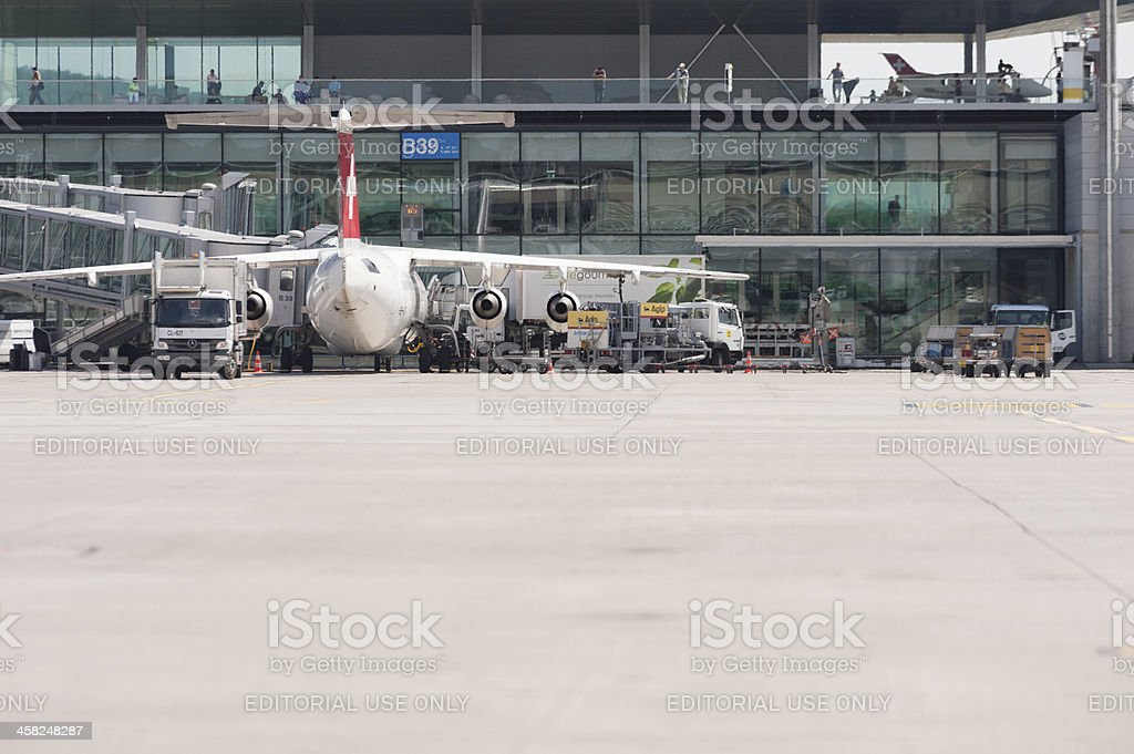 Swiss International Airlines Avro aircraft parked at gate royalty-free stock photo