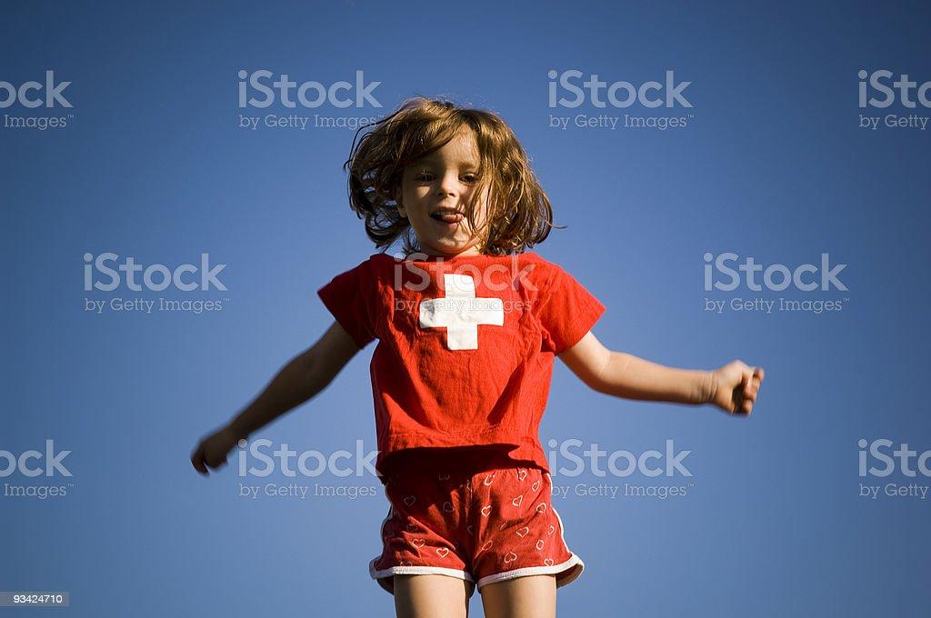 Swiss Jumping Girl royalty-free stock photo