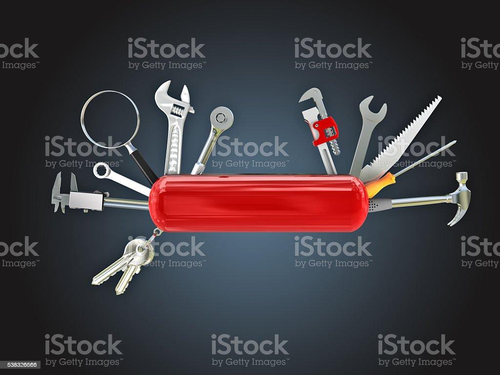 swiss knife tool stock photo