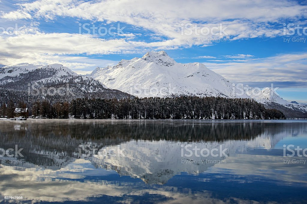 Swiss Lake in winter stock photo