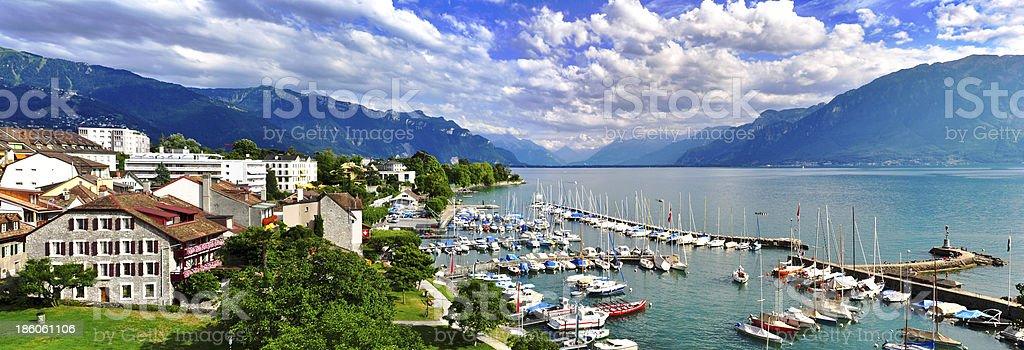 Swiss lake panorama stock photo
