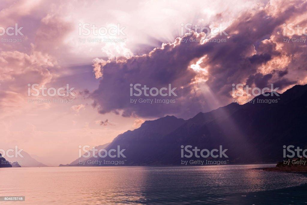 swiss lake sunset stock photo