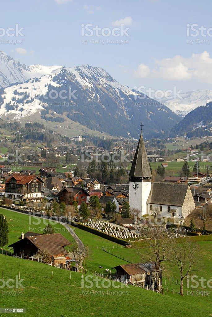 Swiss landscape in springtime stock photo