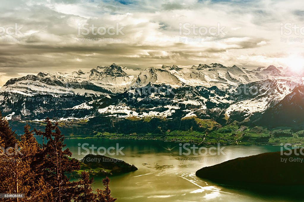 Swiss landscape stock photo