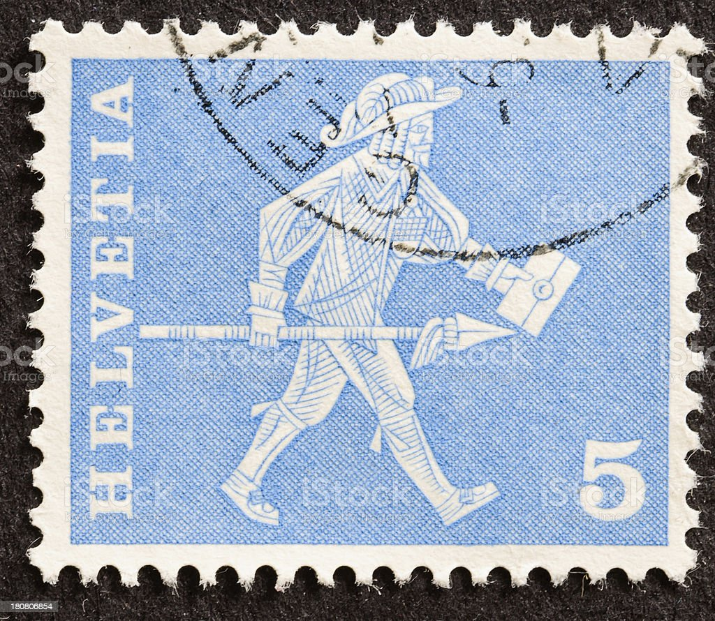 Swiss Mail Delivery Stamp royalty-free stock photo