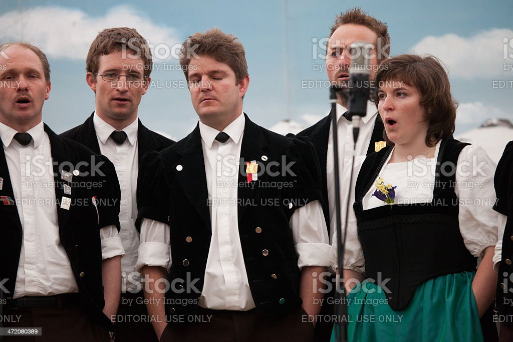 Swiss Male Jodler Choir with one woman lead singer, Switzerland royalty-free stock photo