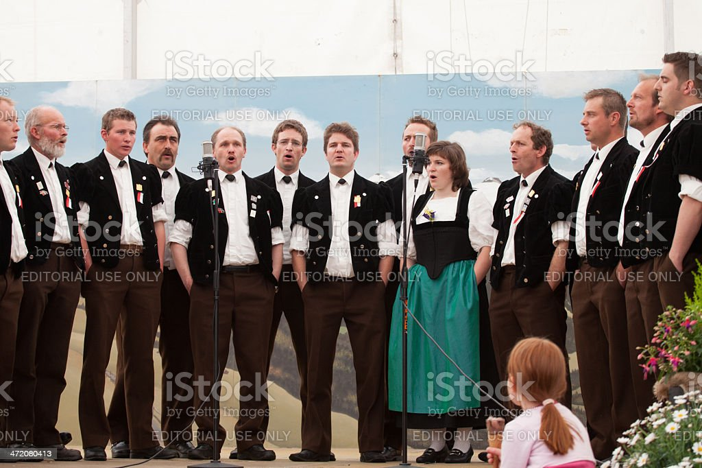 Swiss Male Jodler Choir with one woman lead singer, Switzerland stock photo
