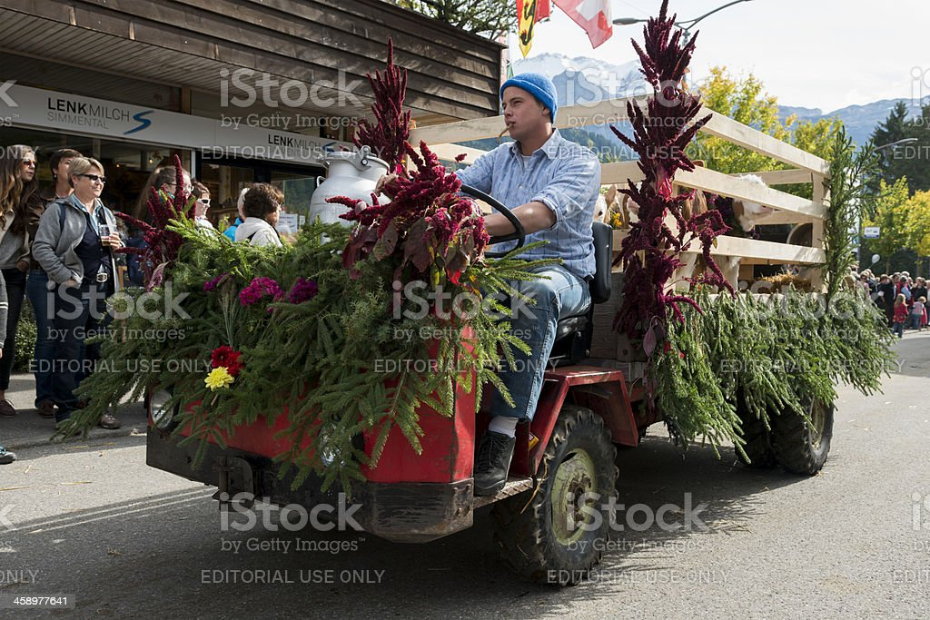 Swiss Man Drives Float in Rural Alps Agricultural Parade royalty-free stock photo