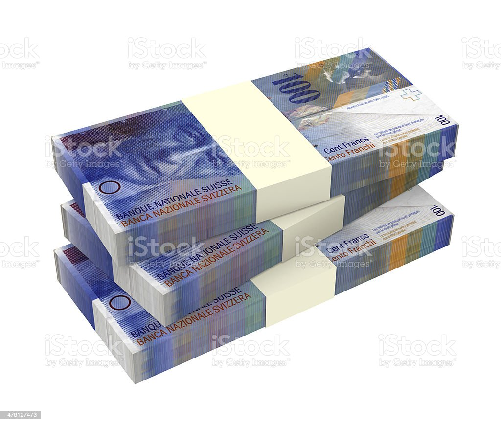 Swiss money isolated on white background. stock photo