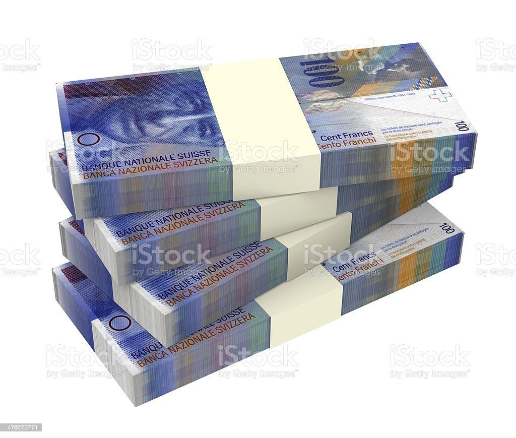 Swiss money isolated on white background. stock photo