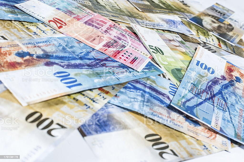 Swiss money stock photo