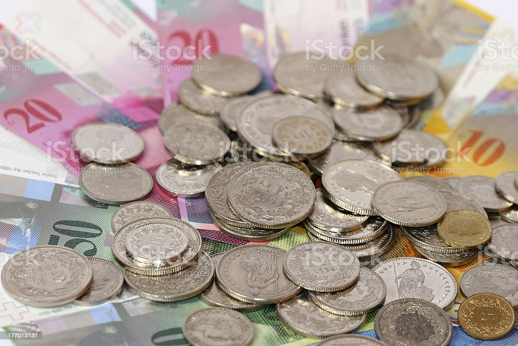 Swiss money with coins II stock photo