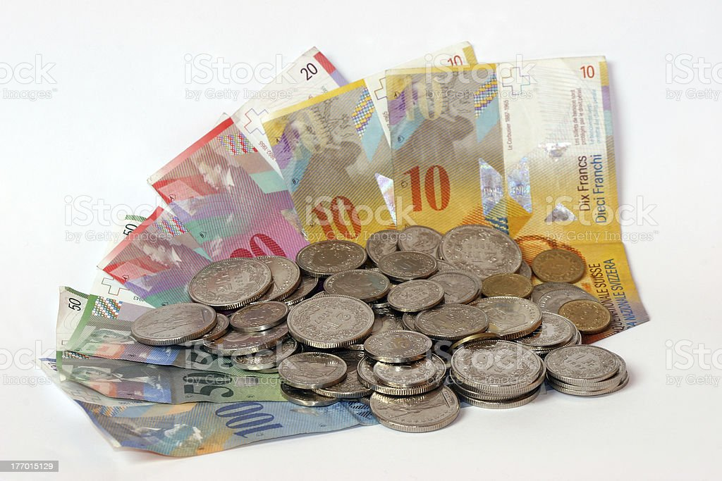 Swiss money with coins stock photo
