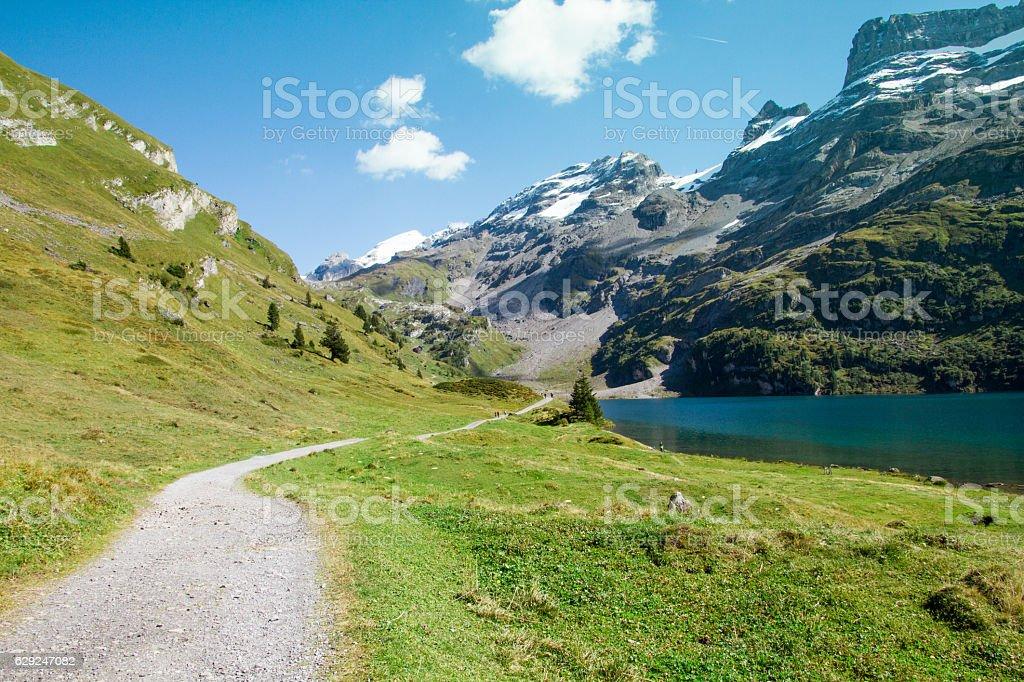 Swiss mountain lake at Engstlen alp stock photo
