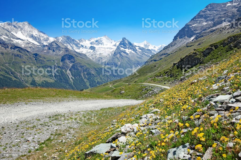 Swiss Mountain Landscape in Summer stock photo