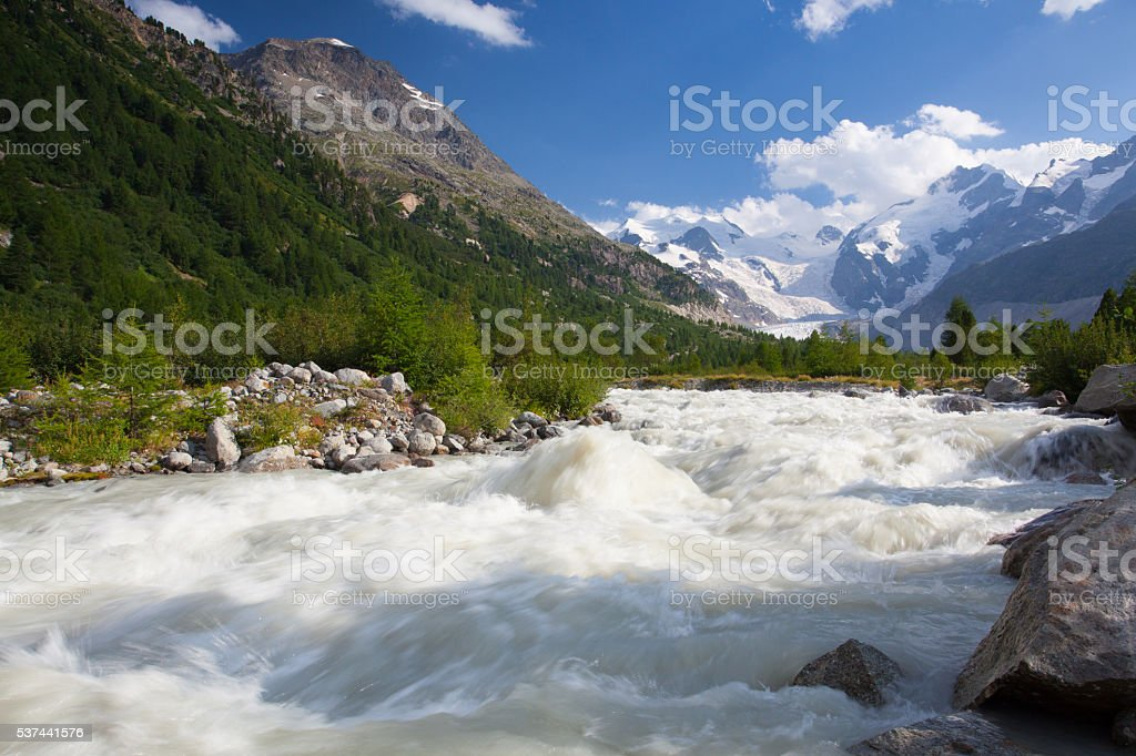 Swiss mountain landscape of the Morteratsch Glacier Valley stock photo