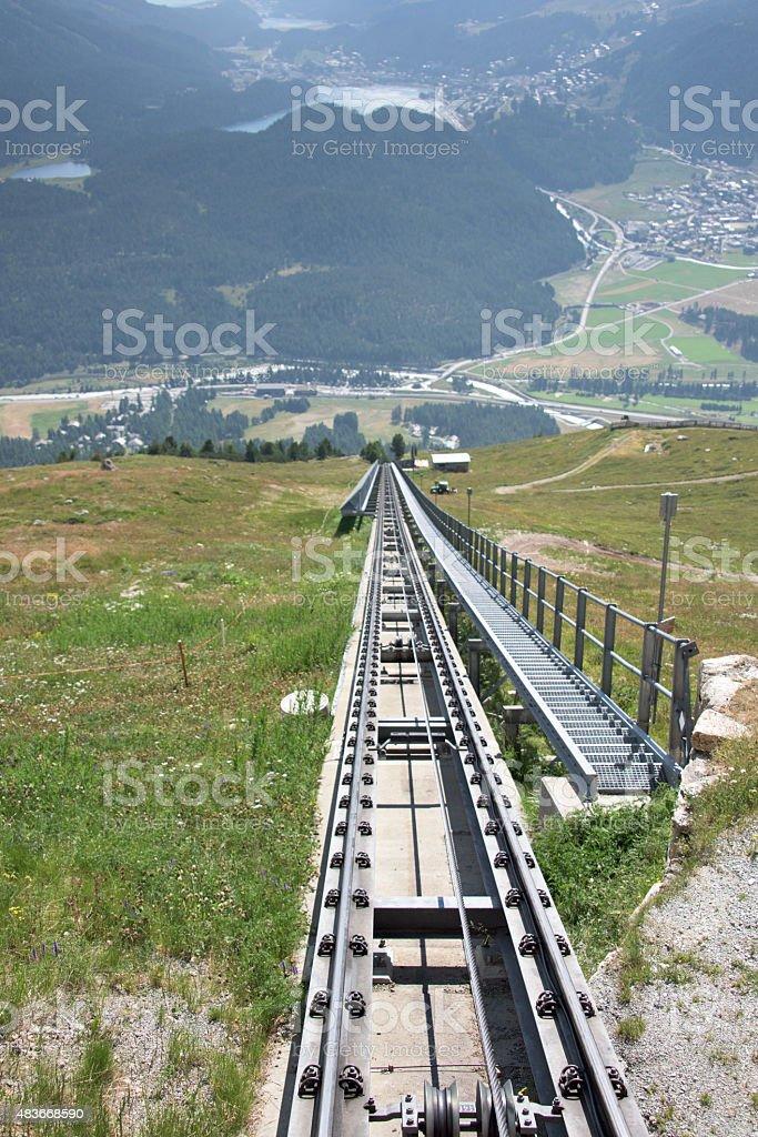 Swiss mountain rack and pinion railway stock photo