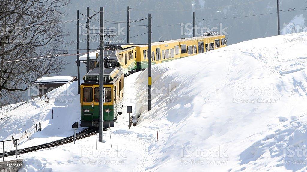 Swiss mountain railway from Grindlewald to Kleine Scheidegg royalty-free stock photo